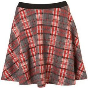 Topshop Knit Plaid Skater Skirt